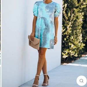Cotton Tie Dye Puff Sleeve Dress